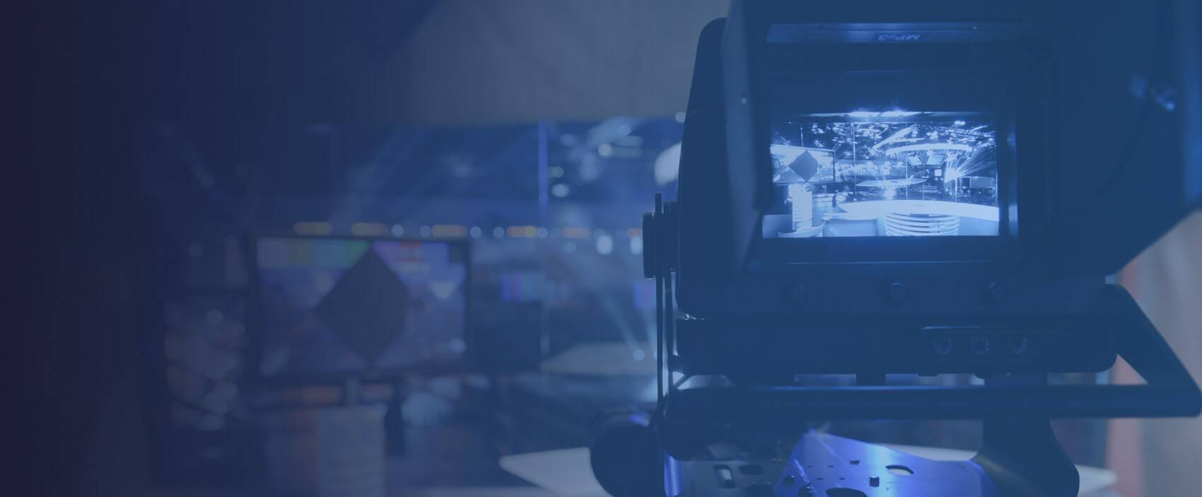 image of a camera on a broadcast set