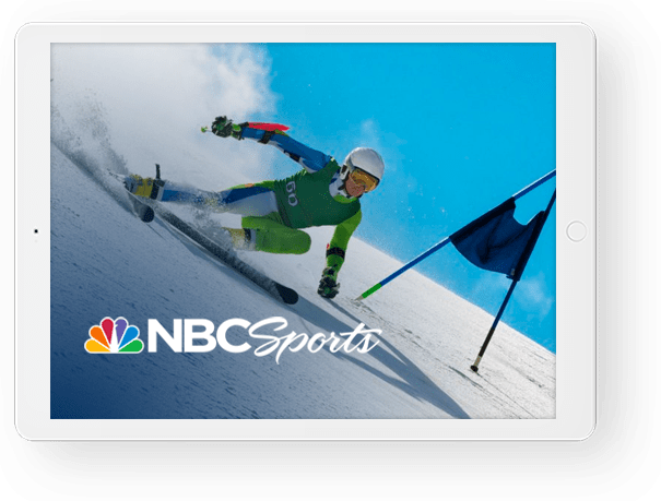 image of a competitive skier and a NBC Sports logo